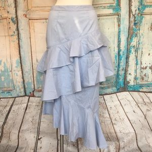 CHELSEA28 Blue & White Striped Ruffle Midi Skirt